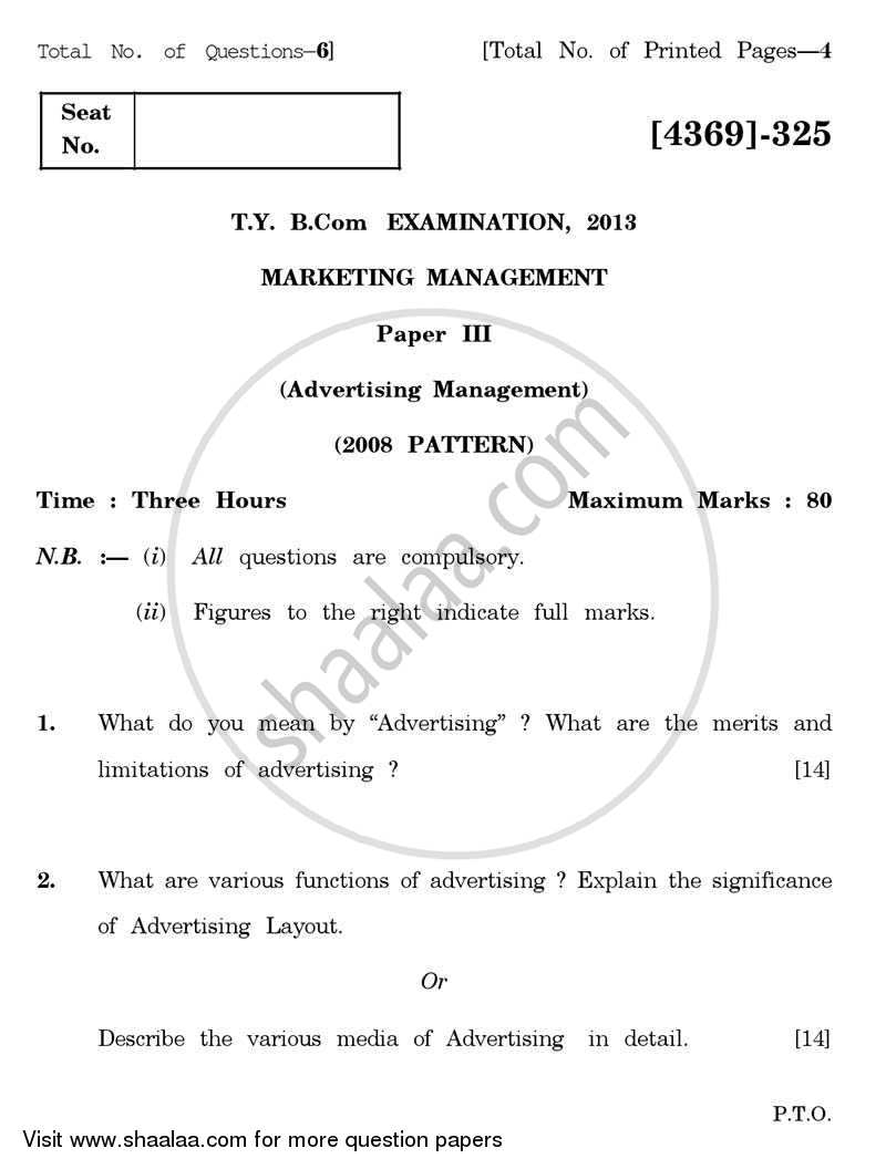 Question Paper - Marketing Management 3 2012 - 2013 - B.Com. - 3rd Year (TYBcom) - University of Pune