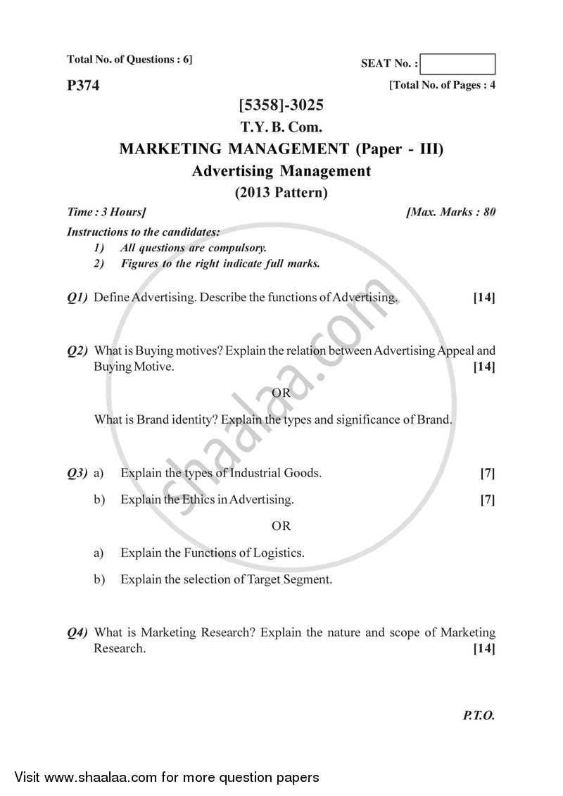 Marketing Management 3 2017-2018 - B.Com. - 3rd Year (TYBcom) - University of Pune question paper with PDF download