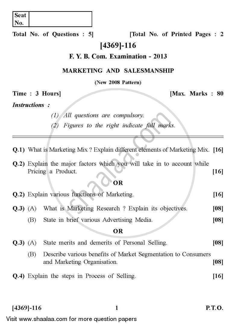 Question Paper - Marketing and Salesmanship 2012 - 2013 - B.Com. - 1st Year (FYBcom) - University of Pune