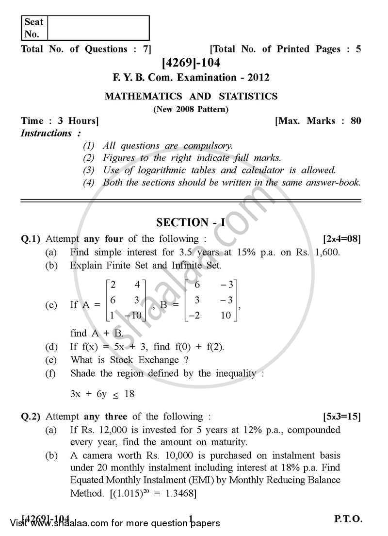 Question Paper - Mathematics and Statistics 2012 - 2013 - B.Com. - 1st Year (FYBcom) - University of Pune