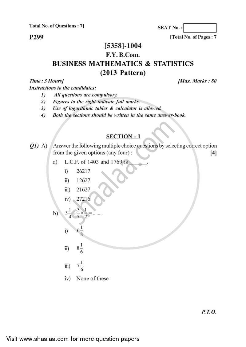 Mathematics and Statistics 2017-2018 Bachelor of Commerce (B