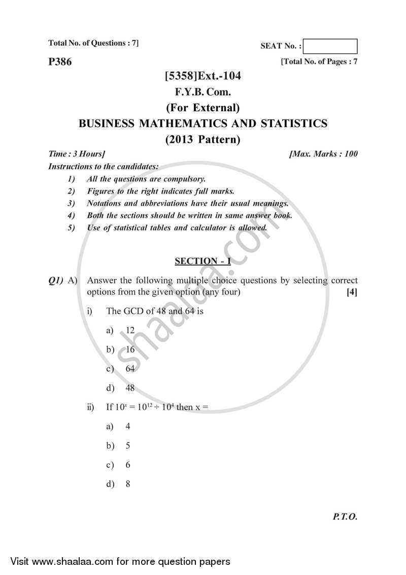 Question Paper - B.Com (External) (Correspondence) 1st Year (FYBcom) Mathematics and Statistics ...