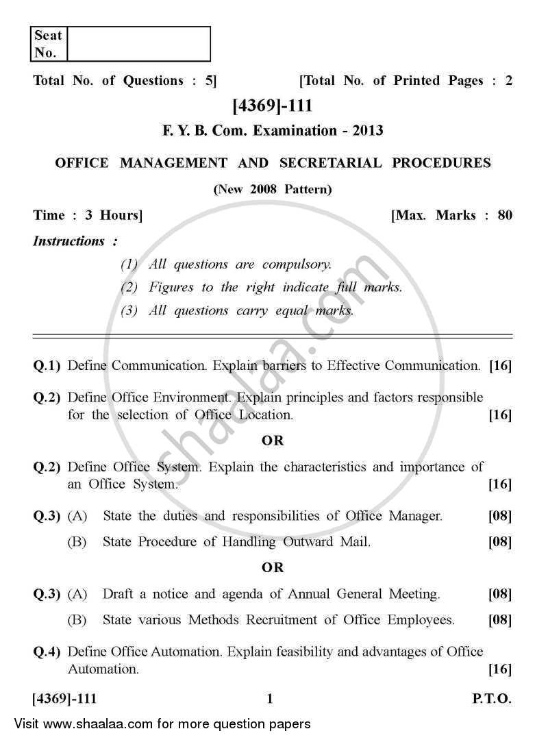 Question Paper - Office Management and Secretarial Procedures 2012 - 2013 - B.Com. - 1st Year (FYBcom) - University of Pune