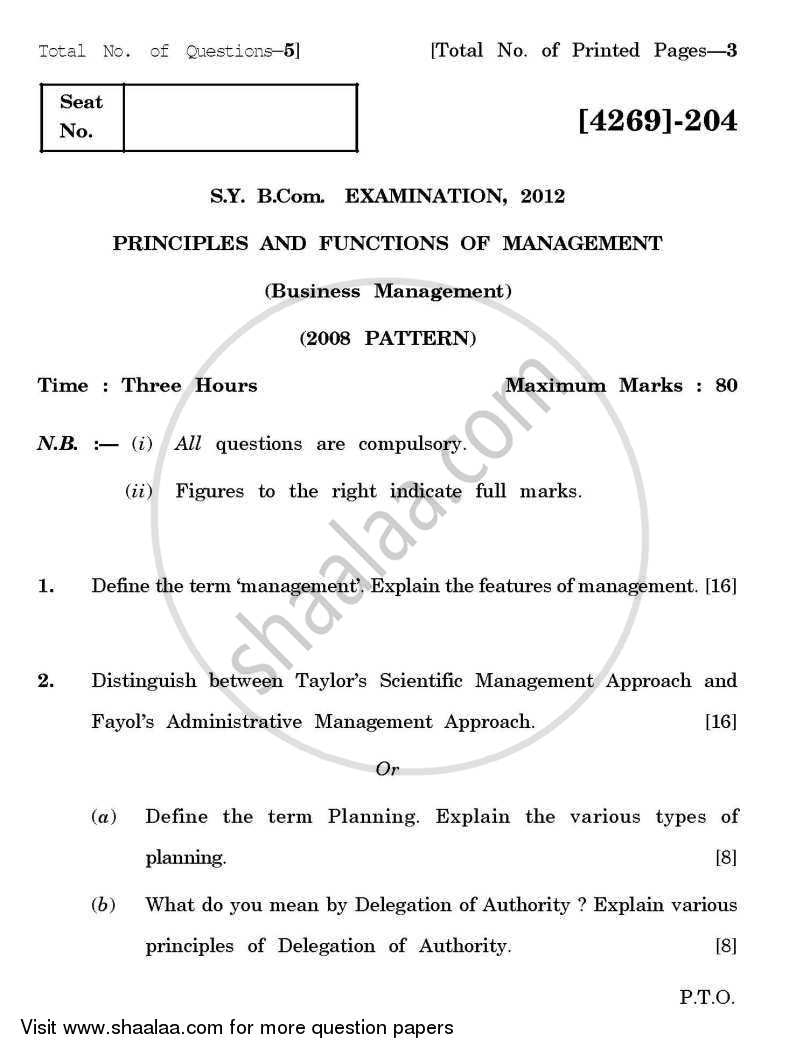 Question Paper - Principles and Functions of Management 2012 - 2013 - B.Com. - 2nd Year (SYBcom) - University of Pune