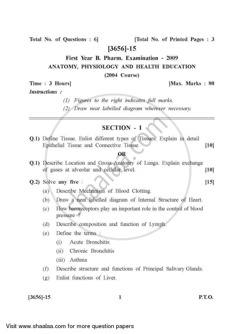 Question Paper Human Anatomy And Physiology 2009 2010 Bachelor