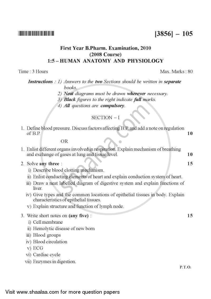 Question Paper - Human Anatomy and Physiology 2010 - 2011 - B.Pharm. - 1st Year - University of Pune