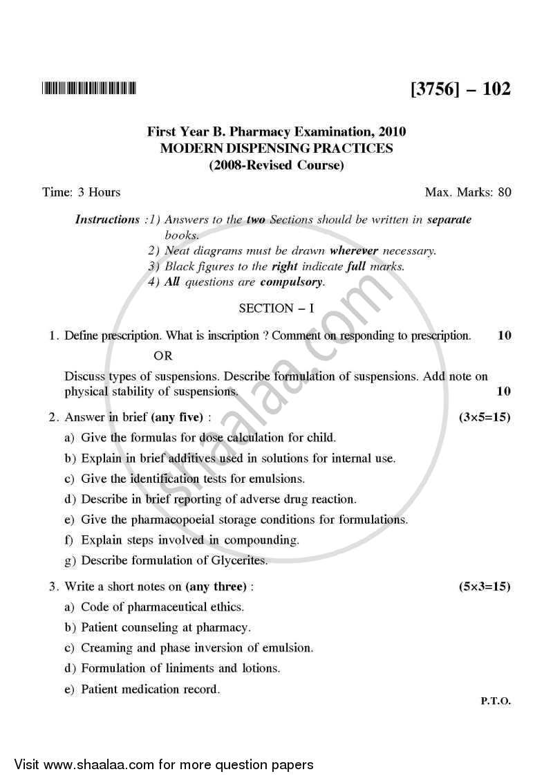 Question Paper - Modern Dispensing Practices 2008 - 2009 - B.Pharm. - 1st Year - University of Pune
