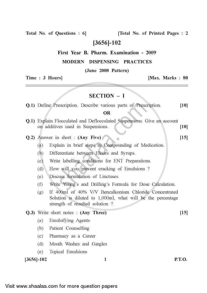 Question Paper - Modern Dispensing Practices 2009 - 2010 - B.Pharm. - 1st Year - University of Pune