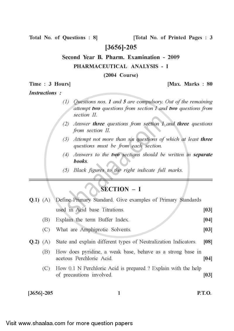 Question Paper - Pharmaceutical Analysis 1 2009 - 2010 - B.Pharm. - 2nd Year - University of Pune