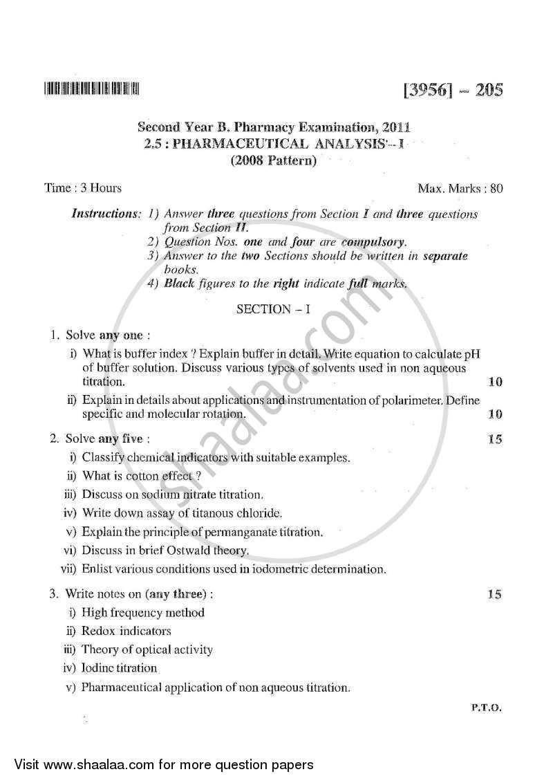 Question Paper - Pharmaceutical Analysis 1 2010 - 2011 - B.Pharm. - 2nd Year - University of Pune