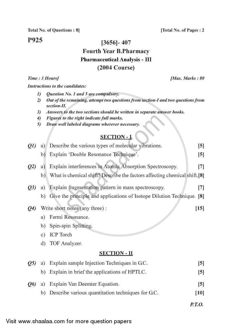 Question Paper - Pharmaceutical Analysis 3 2009 - 2010 - B.Pharm. - 4th Year - University of Pune