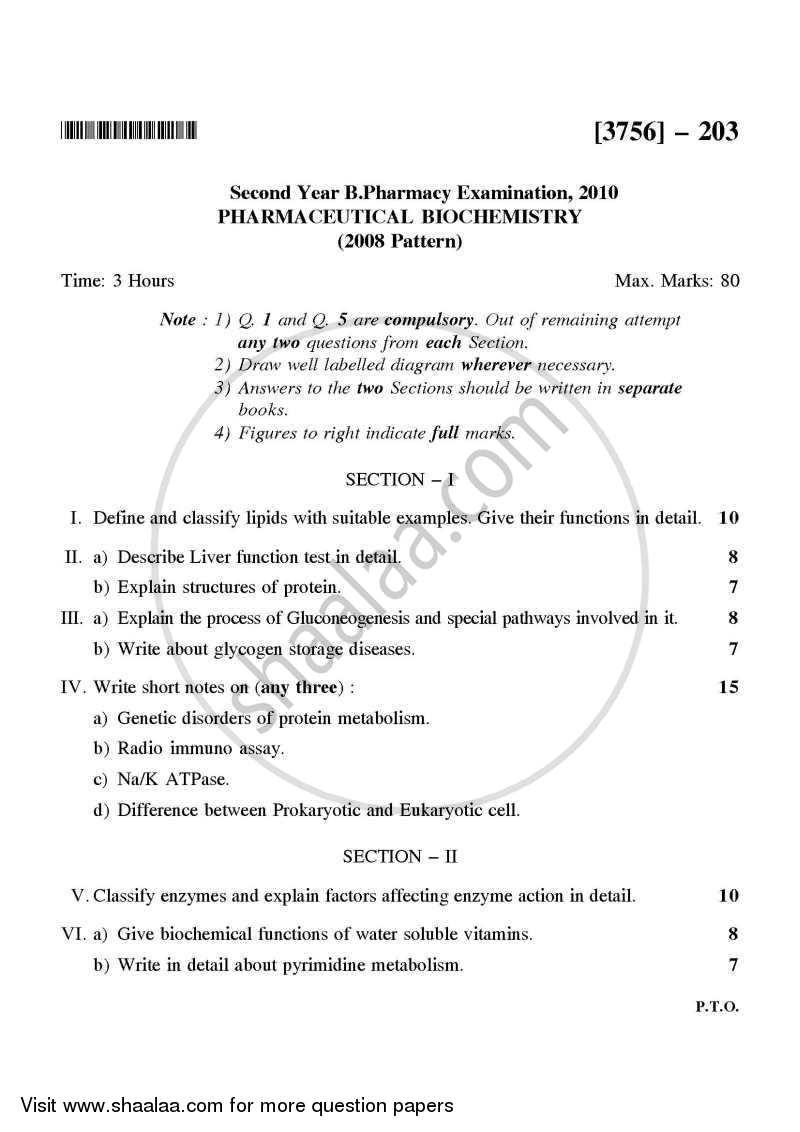 Question Paper - Pharmaceutical Biochemistry 2008 - 2009 - B.Pharm. - 2nd Year - University of Pune