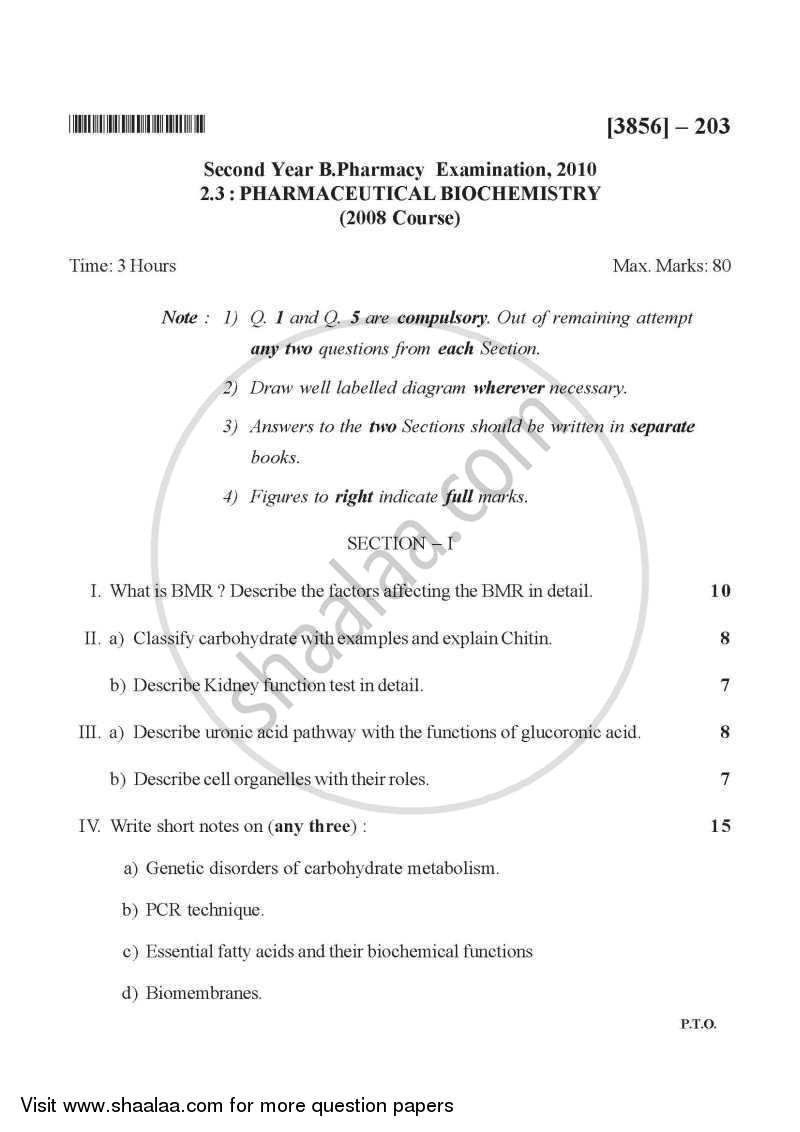 Question Paper - Pharmaceutical Biochemistry 2010 - 2011 - B.Pharm. - 2nd Year - University of Pune