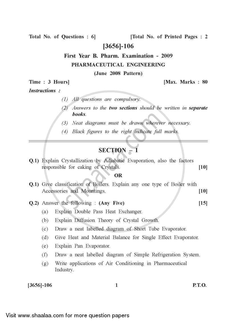 Question Paper - Pharmaceutical Engineering 2009 - 2010 - B.Pharm. - 1st Year - University of Pune