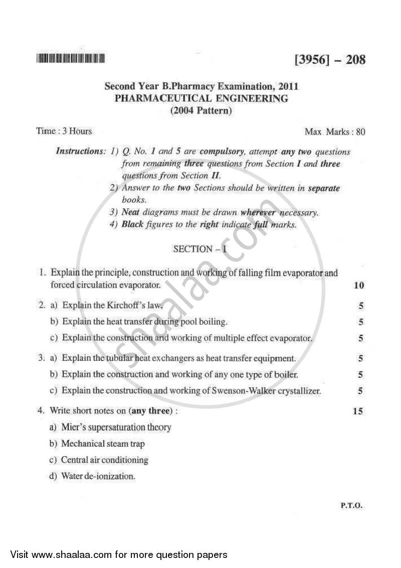 Pharmaceutical Engineering 2010-2011 - B.Pharm. - 1st Year - University of Pune question paper with PDF download