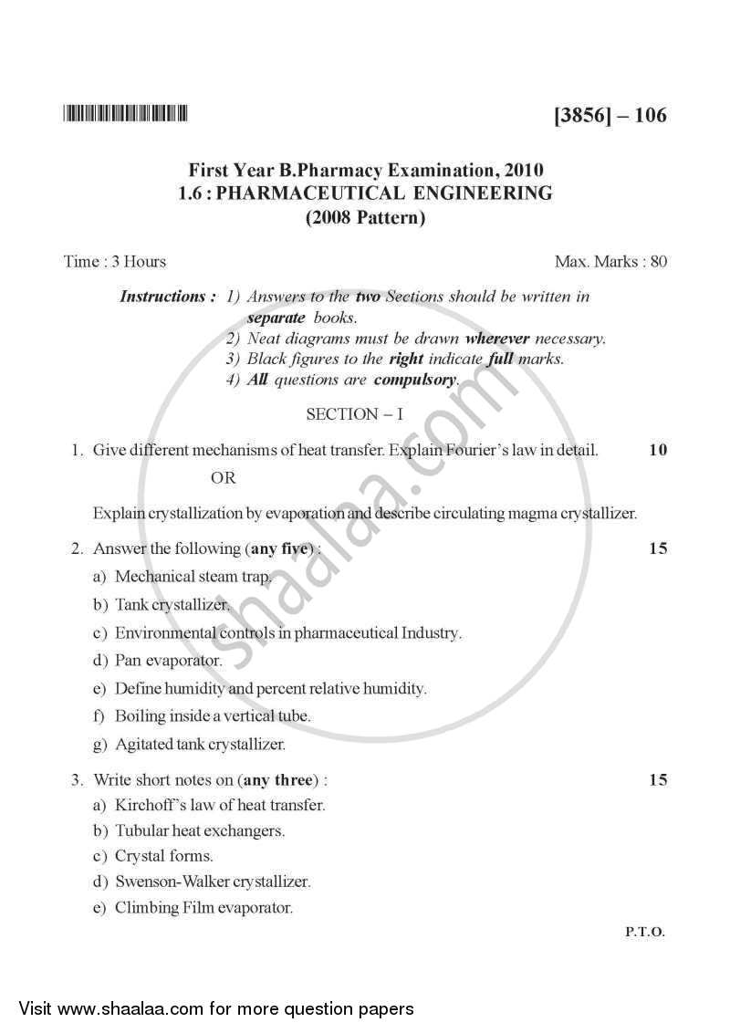 Question Paper - Pharmaceutical Engineering 2010 - 2011 - B.Pharm. - 1st Year - University of Pune