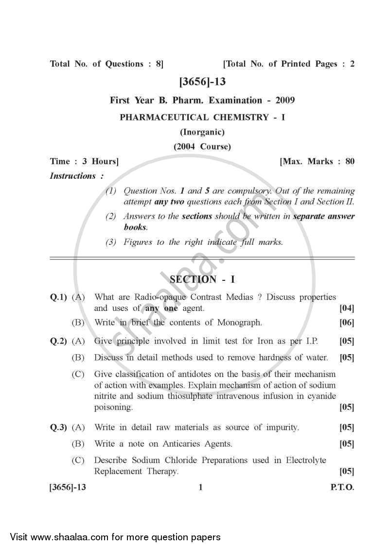 Question Paper - Pharmaceutical Inorganic Chemistry 2009 - 2010-B.Pharm.-1st Year University of Pune
