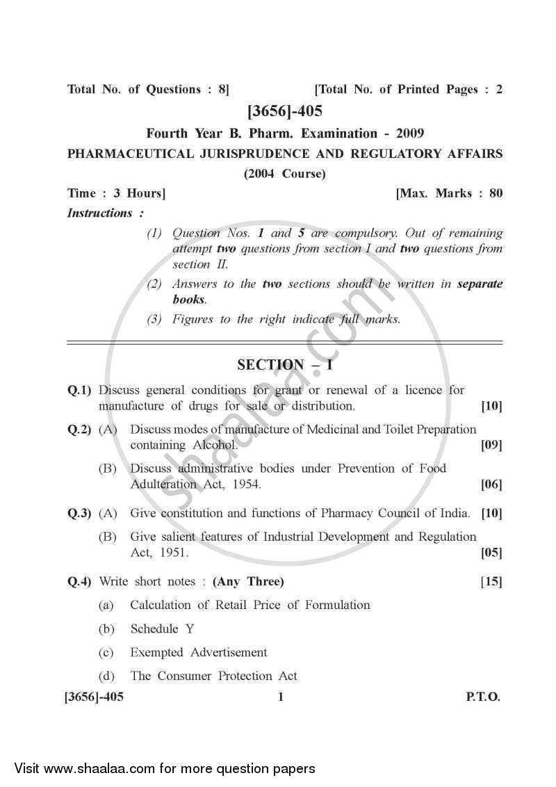 Question Paper - Pharmaceutical Jurisprudence 2009 - 2010 - B.Pharm. - 4th Year - University of Pune