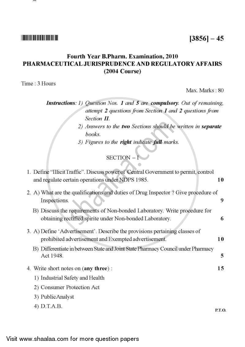 Question Paper - Pharmaceutical Jurisprudence 2010 - 2011 - B.Pharm. - 4th Year - University of Pune