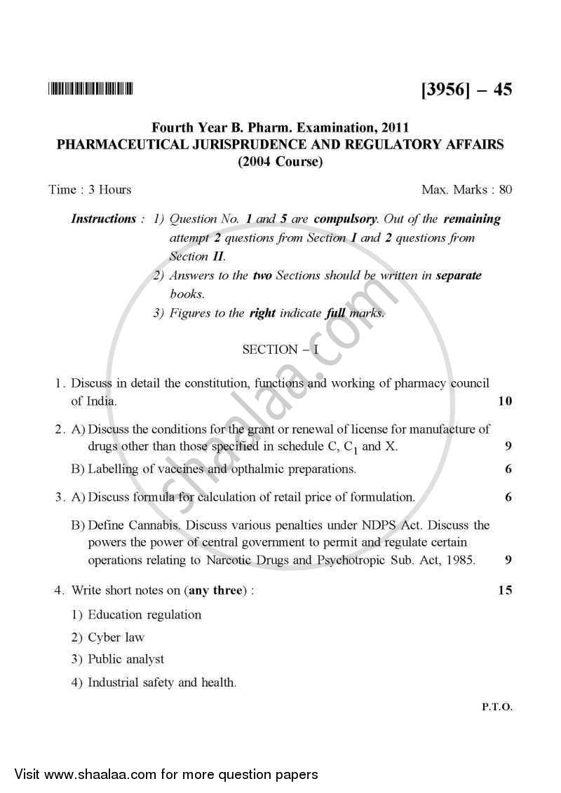 Question Paper - Pharmaceutical Jurisprudence 2011 - 2012 - B.Pharm. - 4th Year - University of Pune