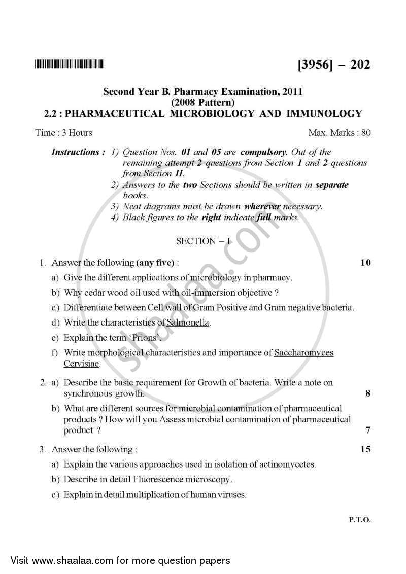 Question Paper - Pharmaceutical Microbiology and Immunology 2010 - 2011 - B.Pharm. - 2nd Year - University of Pune