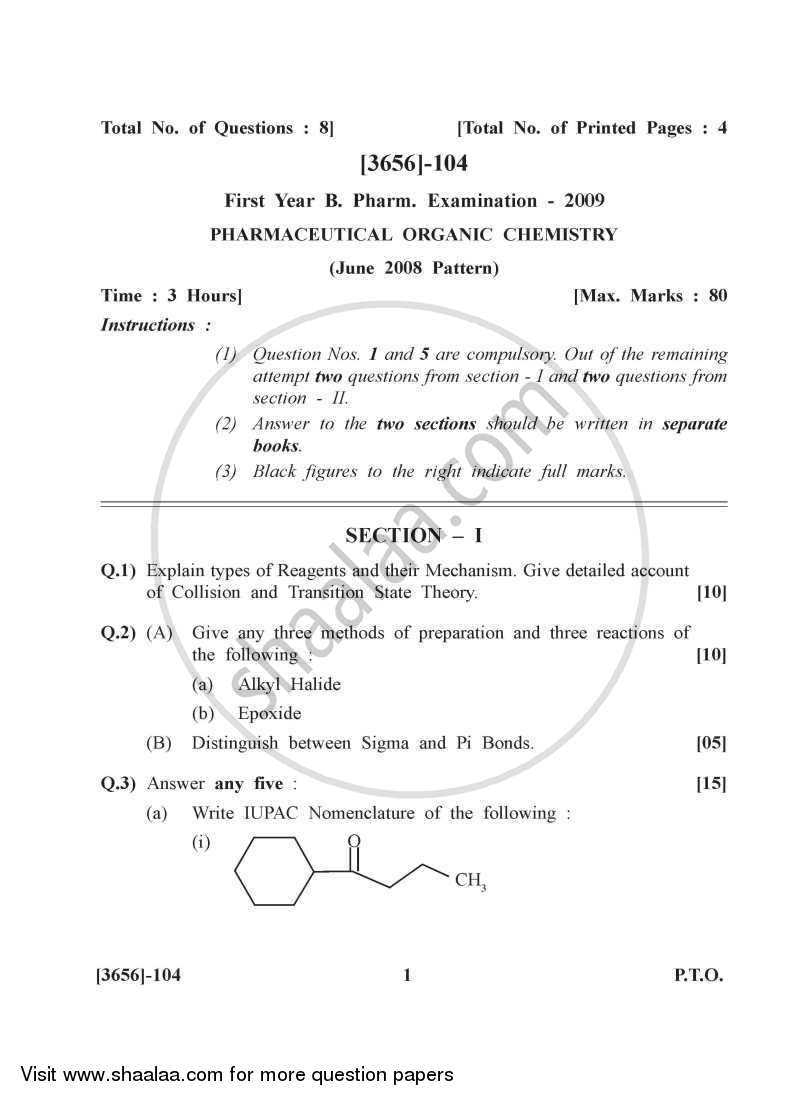 Question Paper - Pharmaceutical Organic Chemistry 1 2009 - 2010 - B.Pharm. - 1st Year - University of Pune