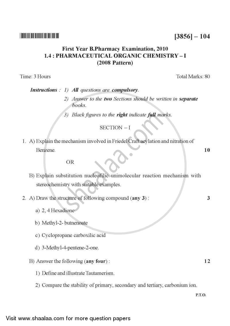 Question Paper - Pharmaceutical Organic Chemistry 1 2010 - 2011 - B.Pharm. - 1st Year - University of Pune