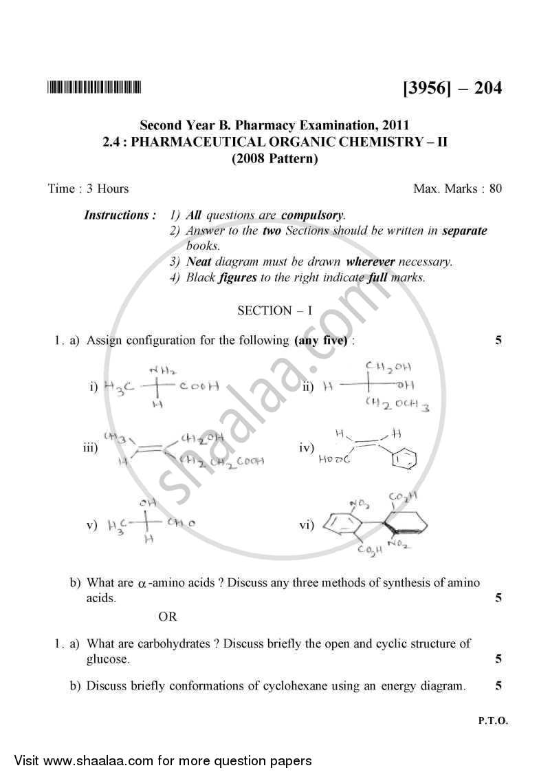 Question Paper - Pharmaceutical Organic Chemistry 2 2010 - 2011 - B.Pharm. - 2nd Year - University of Pune