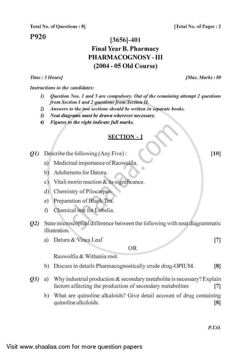 Question Paper - Pharmacognosy 3 2009 - 2010 - B.Pharm. - 4th Year - University of Pune
