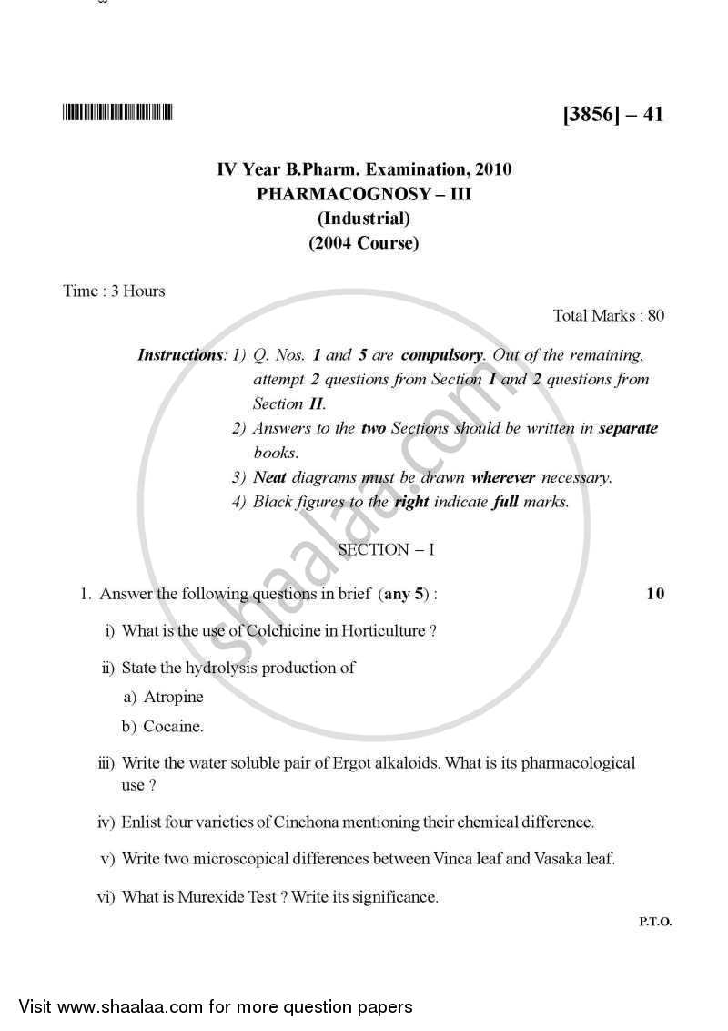 Question Paper - Pharmacognosy 3 2010 - 2011-B.Pharm.-4th Year University of Pune