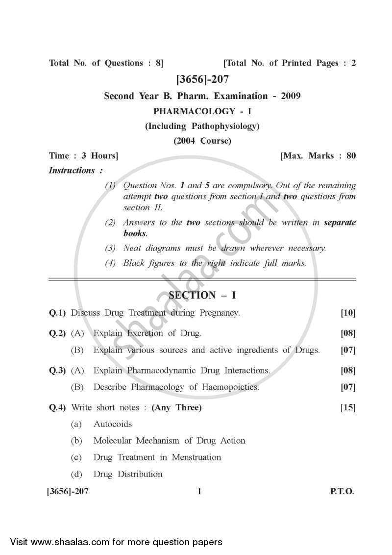 Question Paper - Pharmacology 1 2009-2010 - B.Pharm. - 2nd Year - University of Pune with PDF download