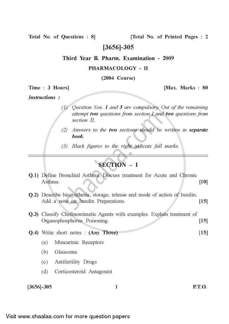 Question Paper - Pharmacology 2 2009 - 2010 - B.Pharm. - 3rd Year - University of Pune