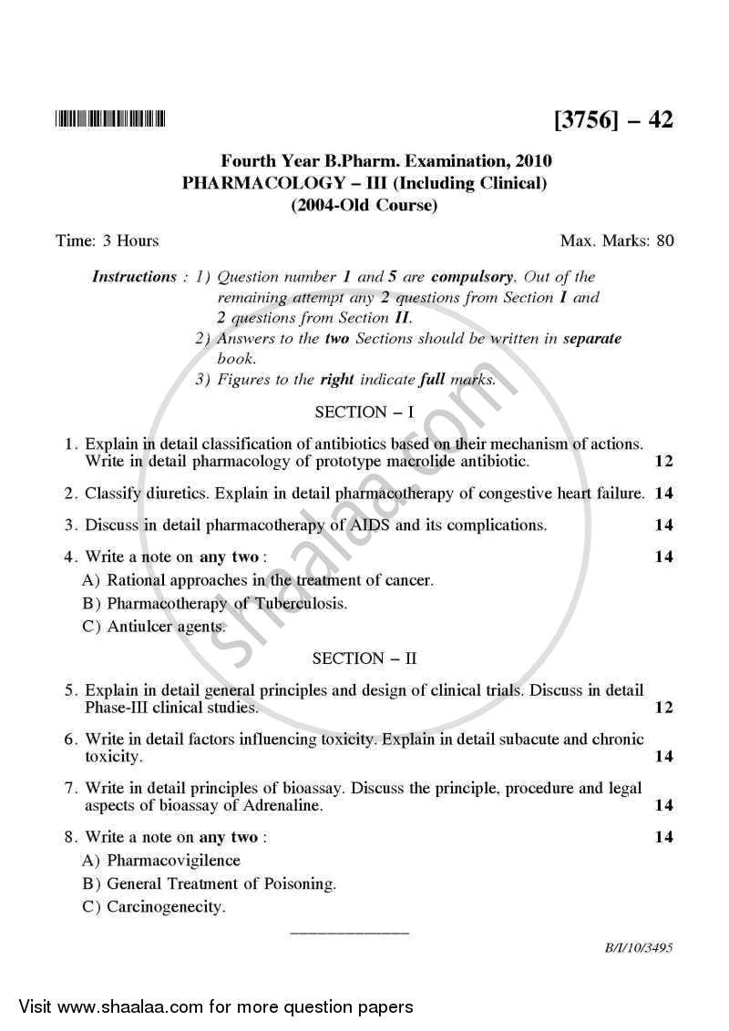Question Paper - Pharmacology 3 2009 - 2010 - B.Pharm. - 4th Year - University of Pune
