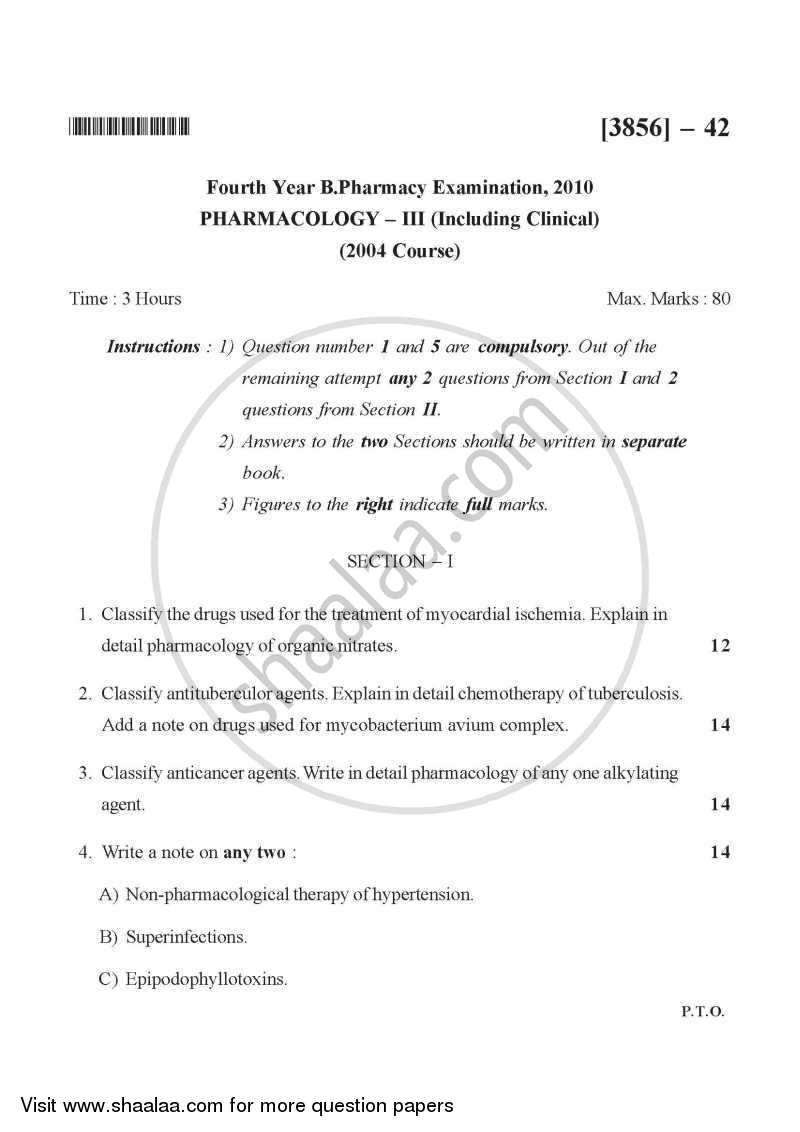 Question Paper - Pharmacology 3 2010 - 2011 - B.Pharm. - 4th Year - University of Pune