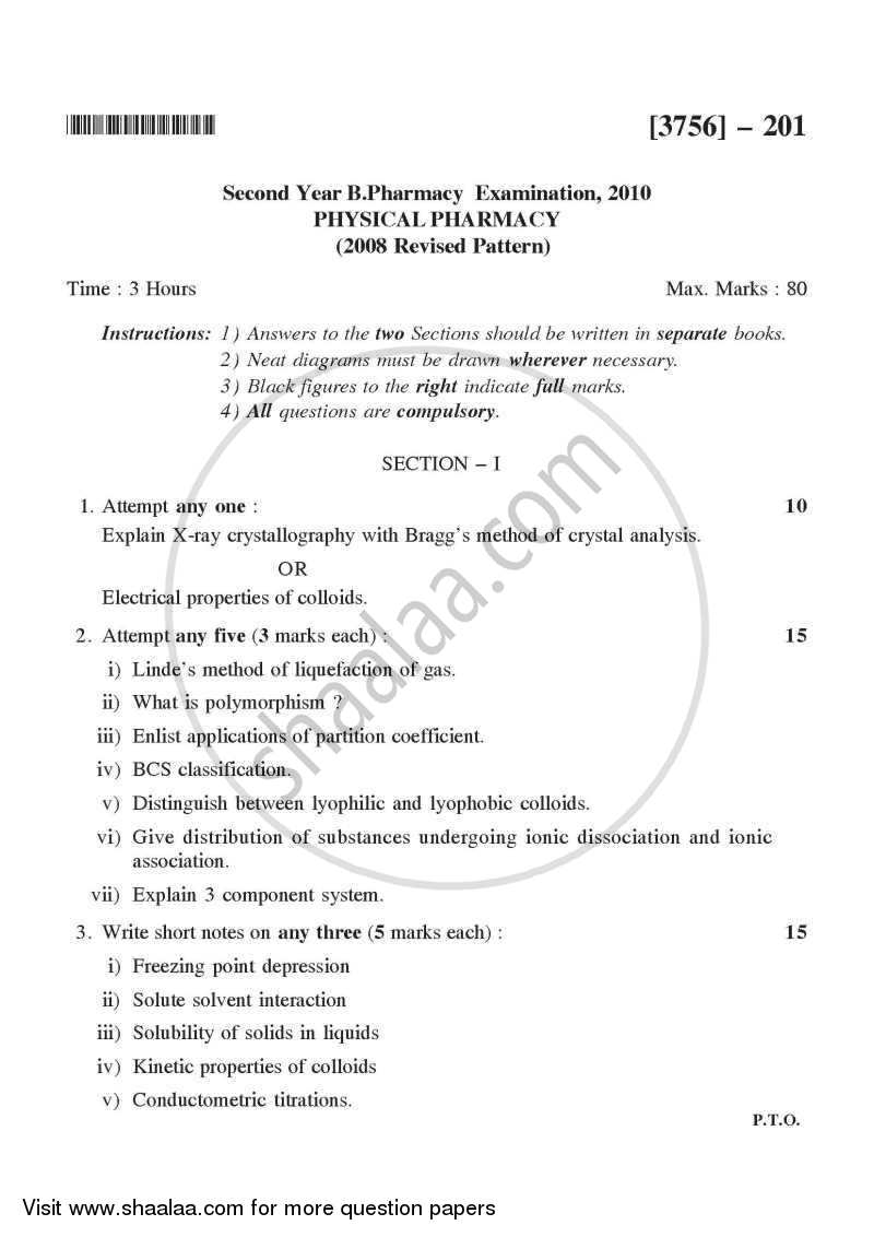 Question Paper - Physical Pharmacy 2008 - 2009 - B.Pharm. - 2nd Year - University of Pune
