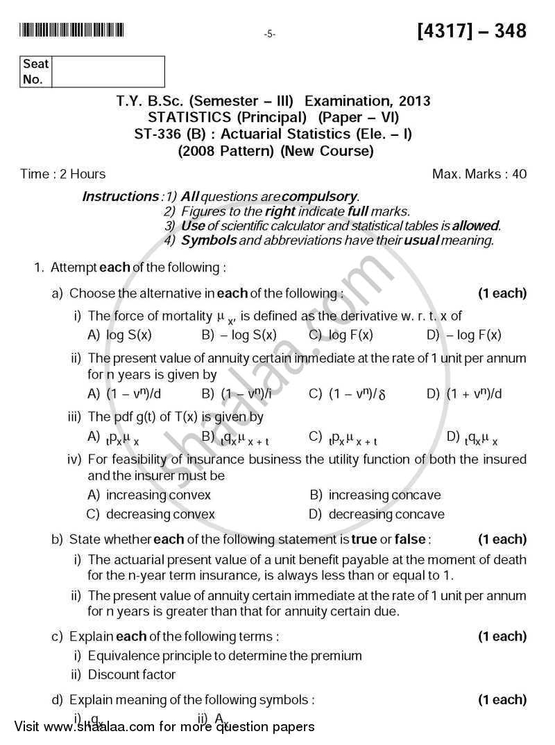 Question Paper - Actuarial Statistics 2013 - 2014 - B.Sc. - Semester 3 (SYBSc) - University of Pune