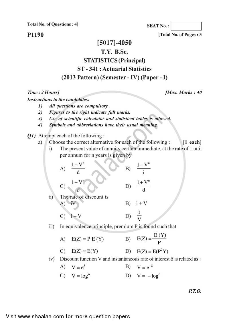 Actuarial Statistics 2016-2017 - B.Sc. - Semester 6 (TYBSc) - University of Pune question paper with PDF download