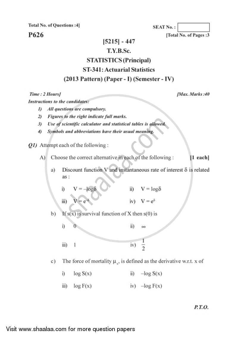 Actuarial Statistics 2017-2018 - B.Sc. - Semester 6 (TYBSc) - University of Pune question paper with PDF download