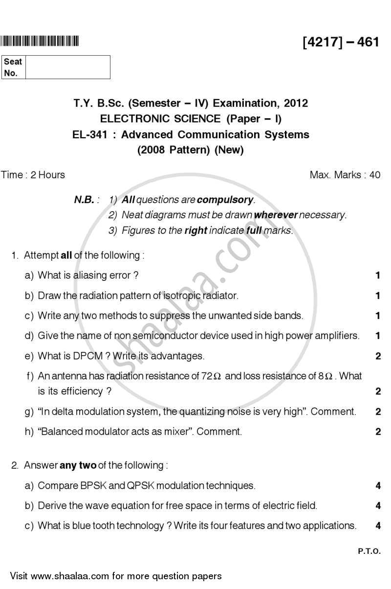 Question Paper - Advanced Communication Systems 2012 - 2013 - B.Sc. - Semester 4 (SYBSc) - University of Pune