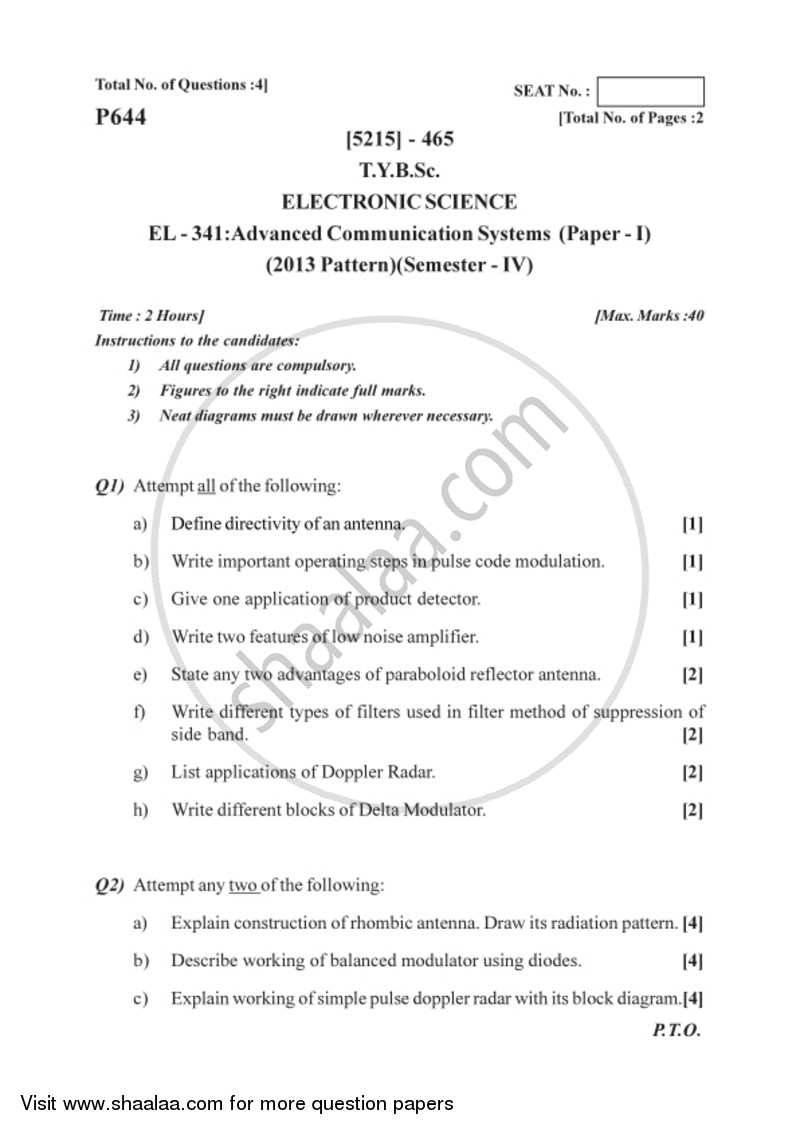 Advanced Communication Systems 2017-2018 B Sc Electronic