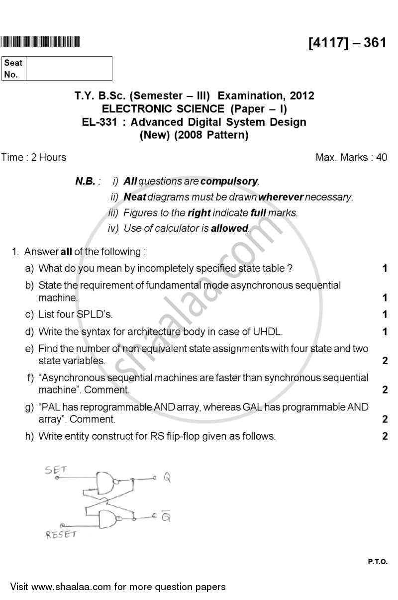 Question Paper - Advanced Digital System Design 2012 - 2013 - B.Sc. - Semester 5 (TYBSc) - University of Pune
