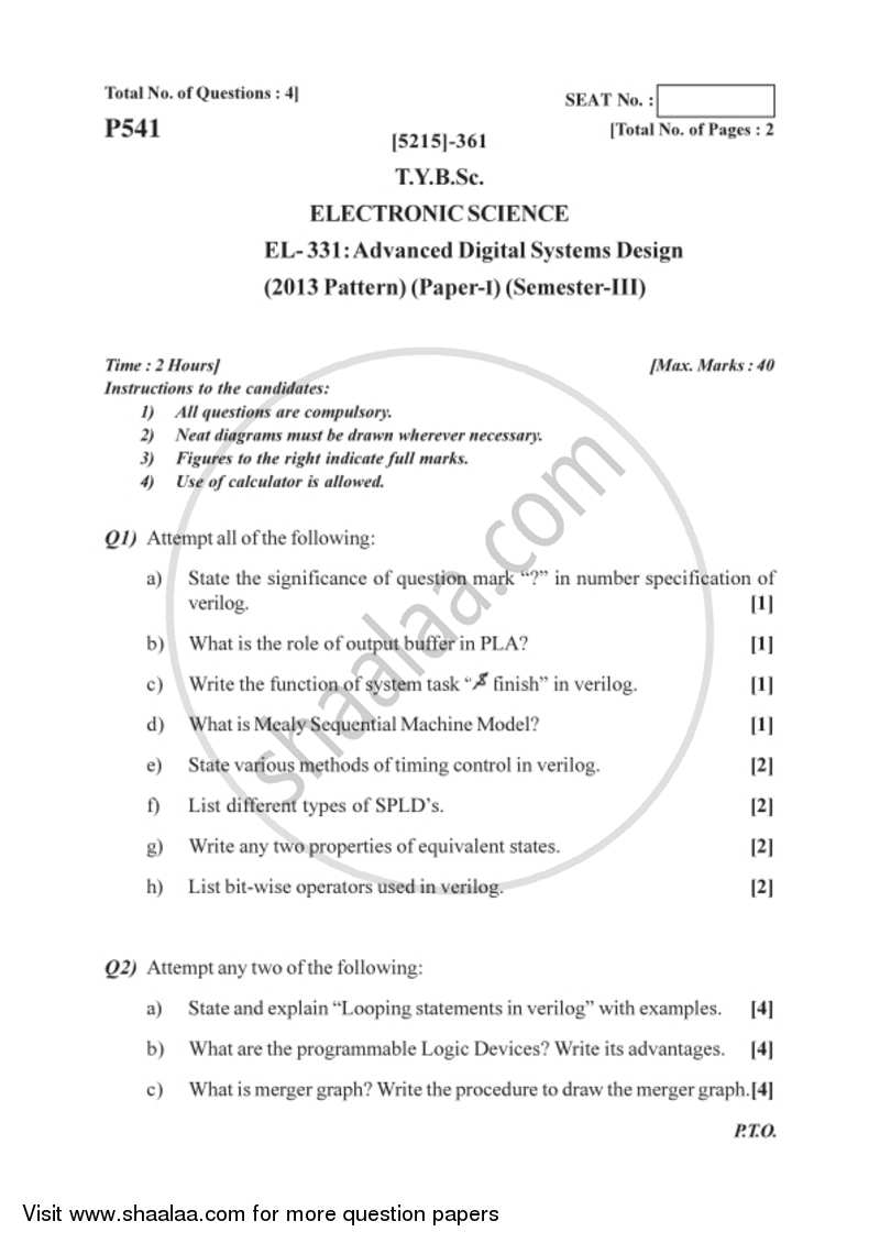 Advanced Digital System Design 2017 2018 B Sc Electronic Science Semester 5 Tybsc 2013 Pattern Question Paper With Pdf Download Shaalaa Com