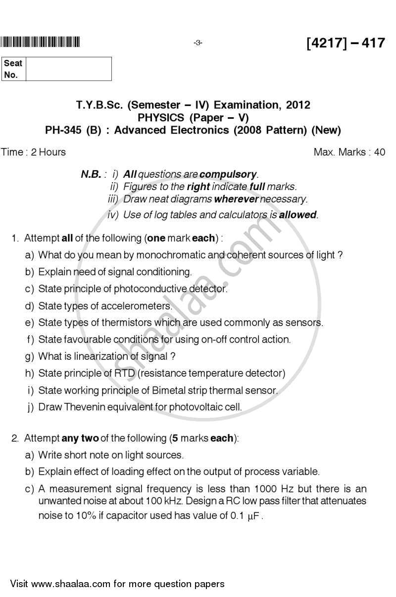 Advanced Electronics 2012-2013 - B.Sc. - Semester 6 (TYBSc) - University of Pune question paper with PDF download