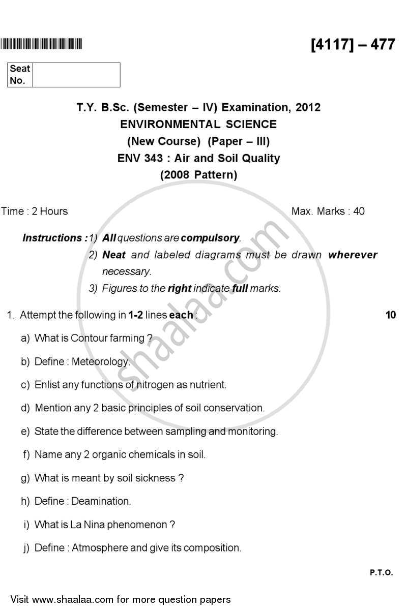 Question Paper - Air and Soil Quality 2012 - 2013 - B.Sc. - Semester 6 (TYBSc) - University of Pune