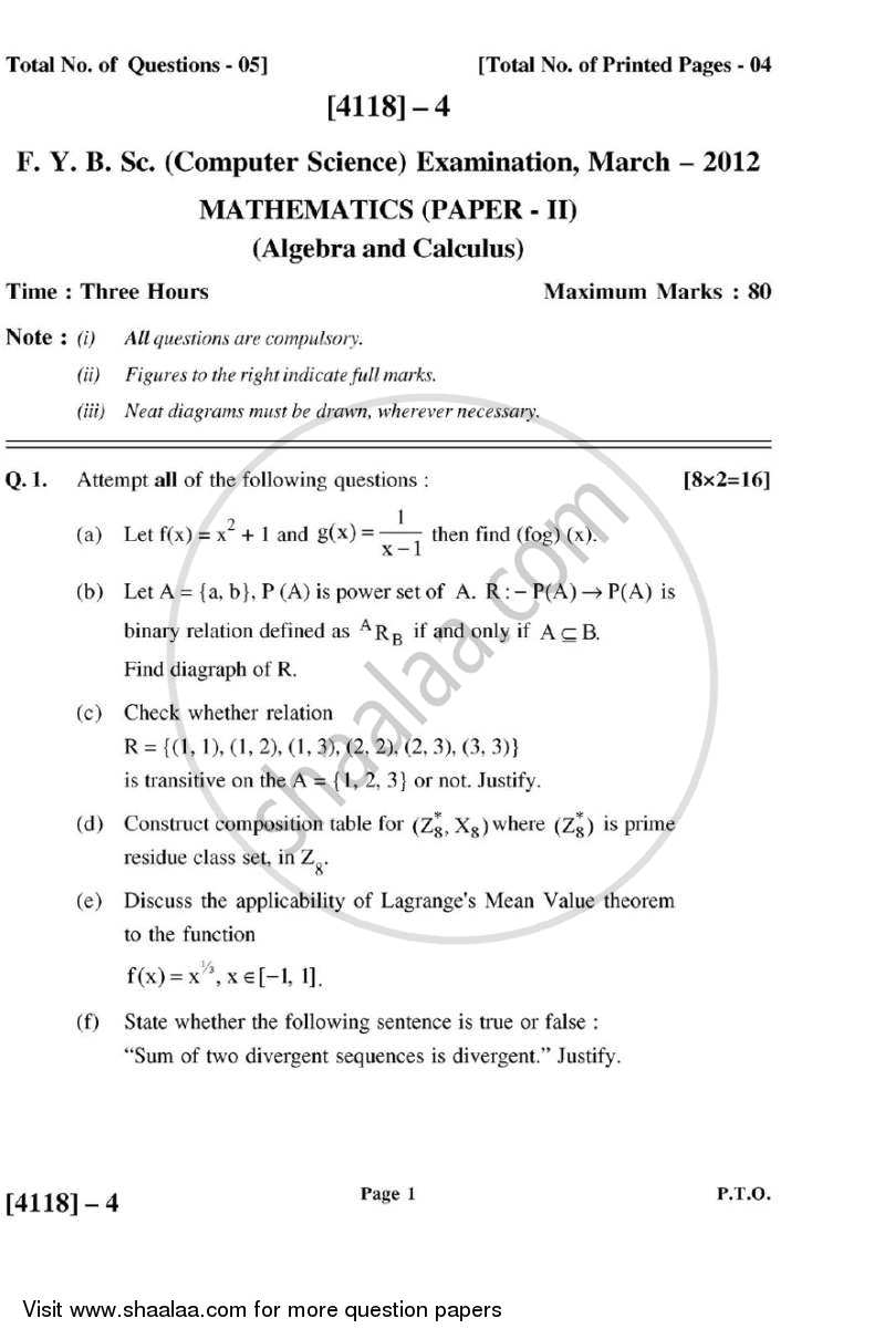 Algebra and Calculus 2012-2013 B Sc Computer Science