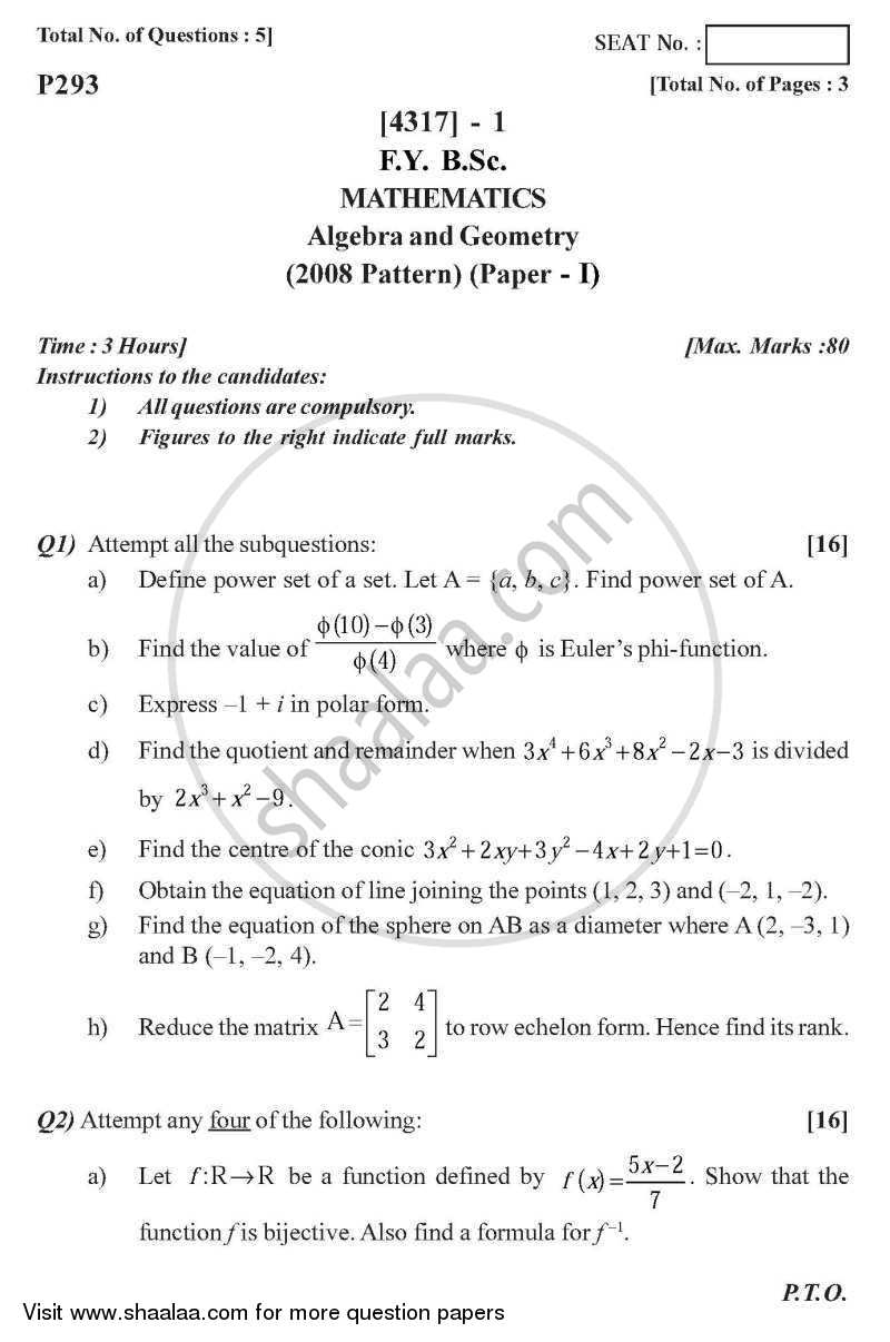 Question Paper - Algebra and Geometry 2013 - 2014 - B.Sc. - Semester 2 (FYBSc) - University of Pune