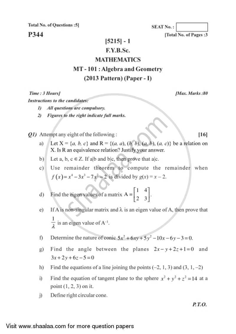 Algebra and Geometry 2017-2018 B Sc Mathematics Semester 2