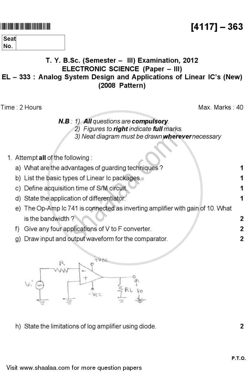 Question Paper - Analog Circuit Design and Application of Linear IC's 2012 - 2013 - B.Sc. - Semester 5 (TYBSc) - University of Pune