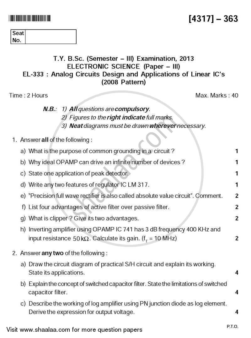 Question Paper - Analog Circuit Design and Application of Linear IC's 2013 - 2014 - B.Sc. - Semester 5 (TYBSc) - University of Pune