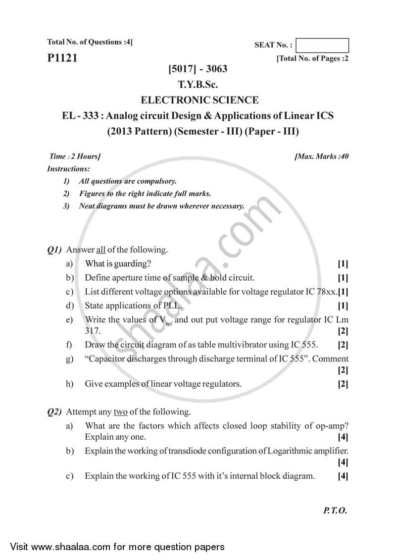 Question Paper Analog Circuit Design And Application Of Linear Electronic Questions Ics 2016 2017 B